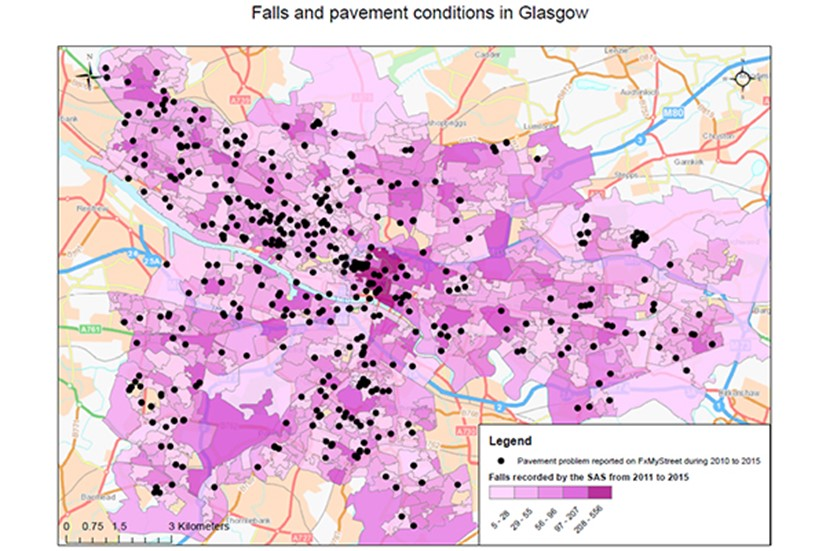 Image of map showing Scottish Ambulance calls (by incident location) and FixMyStreet pavement reports in Glasgow