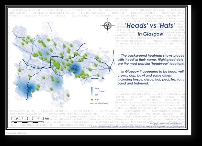 'Heads' vs 'Hats'  heatmap of Glasgow
