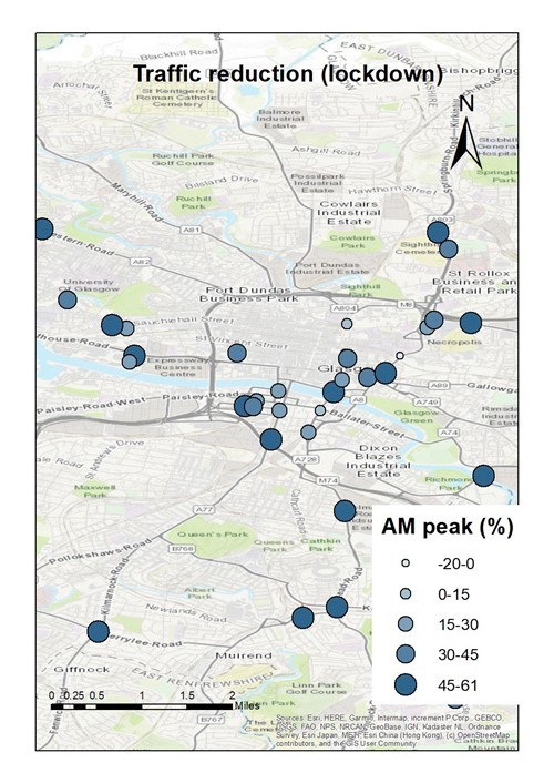 Map showing the traffic reduction in different areas of the city in the AM peak period